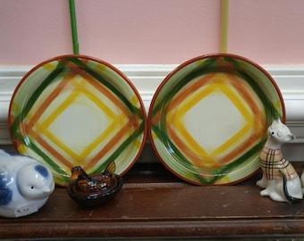 Vintage Metlox Poppytrail Vernonware Homespun Bread and Butter Plate Set of 2!!