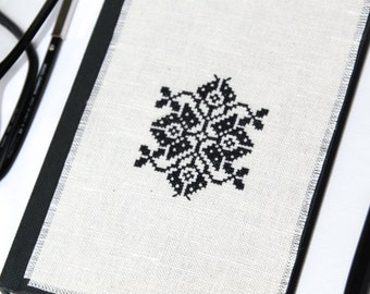 Embroidered Journal Black ethnic embroidery Black embroidered cover Stitched journal Christmas gift idea Hardcover notebook Cross stitch