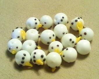 Snowman beads;  little lampwork glass, snowman head beads, 10mm, 5-10pcs/2.40-4.80.