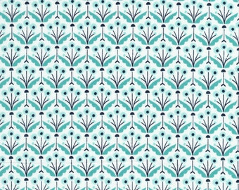 Modern Organic Fabric, WildWood Fabric, Elizabeth Owlen, Pretty Posie in Turquoise, Cloud9 Fabrics, Fabric by the Yard, Organic Cotton