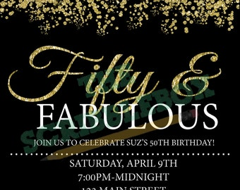 Fifty & Fabulous black and gold invitation
