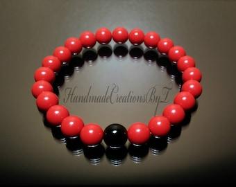 Wealth & Abundance - Cinnabar and Black Onyx Bracelet, Wrist Mala, Healing, Yoga, Meditation, Brick Red, Men Women Jewelry Jewellery