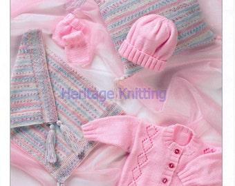 Baby pram set dk knitting pattern 99p