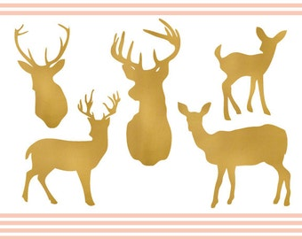 Gold Glitter Deer Clipart Set