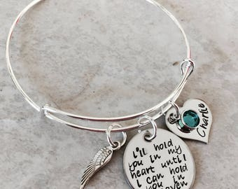 I'll hold you in my heart until I can hold you in Heaven remembrance jewelry memorial jewelry loss of a loved one infant loss angel wing