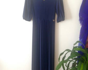 Vintage 70's Navy Pleated Maxi Dress