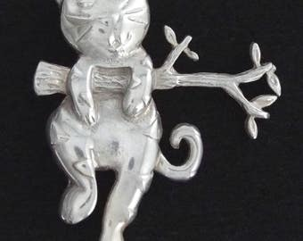 c.1970 - Large Vintage Sterling Silver Funny Cat Pin / Brooch - Mexico