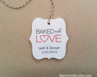 Baked With Love Tags - Made With Love Tags - Customized product hang tags - Food Gift Tags - Holiday Baking Tags - Packaging tags (TM03)
