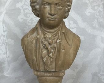 Antique Mozart Bust Bookends Paperweight Musical Composer Vienna