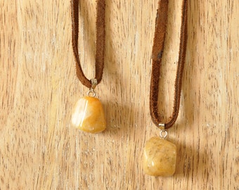 Yellow Aventurine Gemstone Suede Necklace