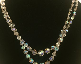 Authentic Vintage Double Strand Crystal Evening Necklace