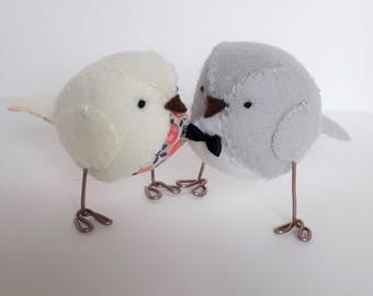 NEW - Wedding cake topper - cream and grey love birds with berry fabric