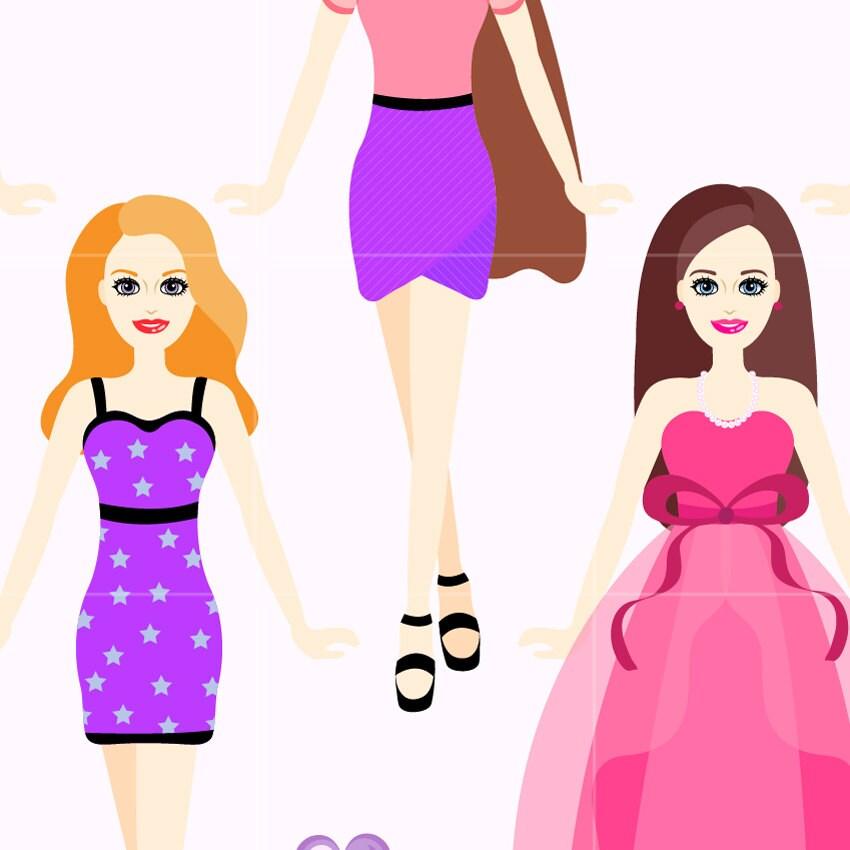 doll digital clip art fashion dolls digital clipart design rh etsystudio com barbie clipart black and white barbie clipart drawing