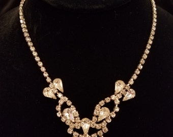 Mid Century Prong Set Necklace with Center Detail, ca 1950s