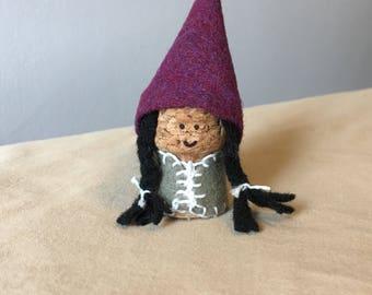 Black Haired Girl Gnome- felt on cork