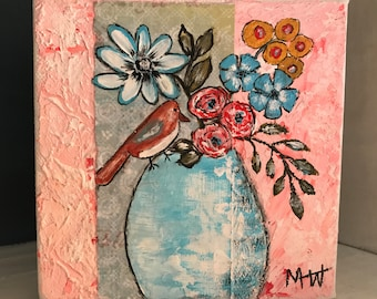 Pink Blue Whimsical Bird Floral 5x5 Acrylic Painting