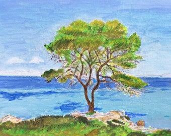 Acrylic painting of a Tree by the Sea