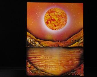 Sunset Water Scene Spray Painting - Wall Art; Black Light Reactive