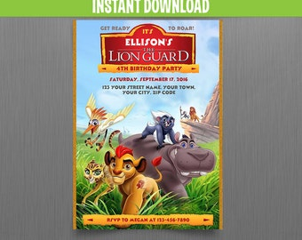 Disney The Lion Guard Birthday Invitation - Instant Download - Edit and print at home with Adobe Reader - Lion Guard Party