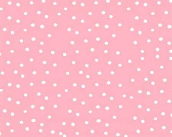 Dinky Dots Pink / White , Loralie Dots White on Pink Cotton Woven, Loralie On the Mend