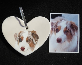 Pet Portrait Ornament Australian Shepherd Hand Painted and Made to Order by Pigatopia