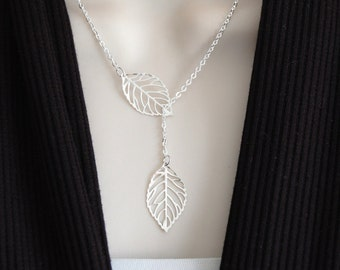 Leaf Necklace Lariat Necklace