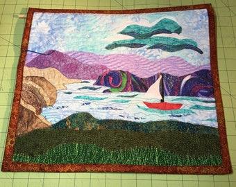 Landscape Quilts/Sailboat Art Quilt/Wall Hanging/Mini Art Quilt/Fiber Art/Quilted Wall Art/Textile Art/Art/Seascape Quilt/Contemporary Art