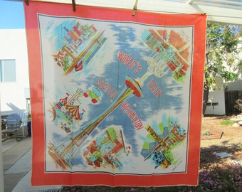Vintage Scarf, World's Fair Scarf, 1960s Souvenir Scarf, Seatle World's Fair, Large Square Scarf, Seattle Souvenir, World's Fair Souvenir