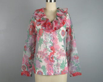 Vintage 1970s Floral Chiffon Blouse 70's Long Sleeve Ruffle Blouse by Judy Bond Size M