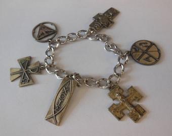 Vintage Sterling Silver 6 Charm Bracelet Cross Charms