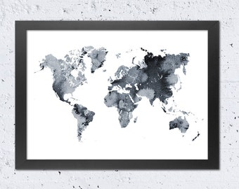 World Map Print, World Map Silhouette Print, Watercolor Black White, Modern Wall Art Home Office Decor, Wall Home Travel Gift, DIY digital