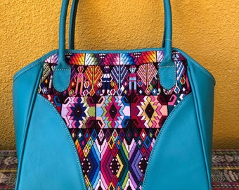 Huipil bag in turquoise natural leather and huipil from Coban