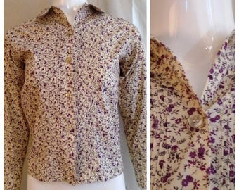 Vintage 1960s Floral Blouse Deadstock Cotton Print Purple and White Long Sleeve Small 36 Bust