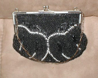 Collectible Antique Beaded Evening Purse from France circa 1920's