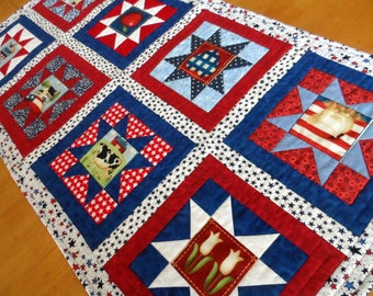 """Patriotic table runner, Americana table topper, quilted, stars table quilt, red, white, blue, quiltsy handmade, 19. 5"""" x 38"""""""