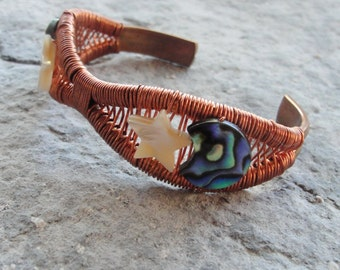 Crescent Moon and Star Bracelet Cuff - Bohemian Jewelry Wire Wrapped Abalone seashell