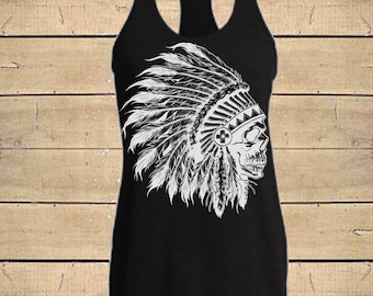 Skull Headdress, Country Shirts, Indian Shirt, Indian tank, Skull Tank, Tribal Tank, Womens (Fitted Style) Soft Blend Racerback Tank Top