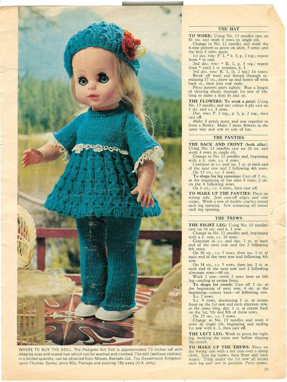 Vintage Knit Doll Clothes Pattern Hello Dolly For 13 Inch Tall Dolls