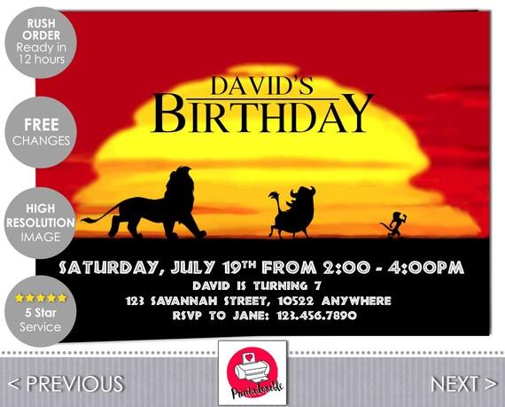 Lion King Invitation - Lion King Invite - The Lion King - Hakuna Matata - Lion King - Lion King Birthday - Simba Invite - Timon Pumba