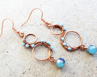 Light Blue and Copper Earrings Wire-wrapped Handmade Dangle Beaded Earrings By Distinctly Daisy