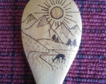 Morning in the Mountains Wood burned Wooden Spoon pyrography