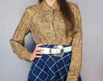 Vintage Paisley Gold Floral Silk Button Down Collared Long Sleeve Blouse Shirt Top