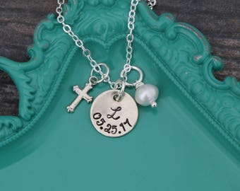 Silver Cross Necklace Baptism Jewelry Custom Date • Personalized Handstamped Initial • Tiny Cross Girls Confirmation Jewelry Dainty Cross