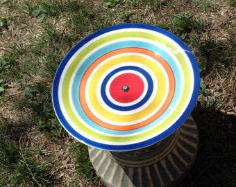 Blue Concentric Circles Rustic Plate Bird, Squirrel or Fairy Feeder