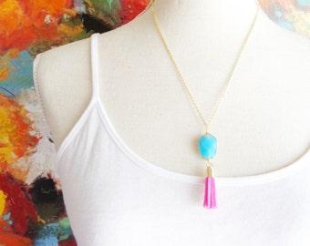 Blue Gemstone Tassel Necklace - Pink Suede Tassel Necklace - Gemstone Pendant Necklace - Long Tassel Necklace - Layering Necklace