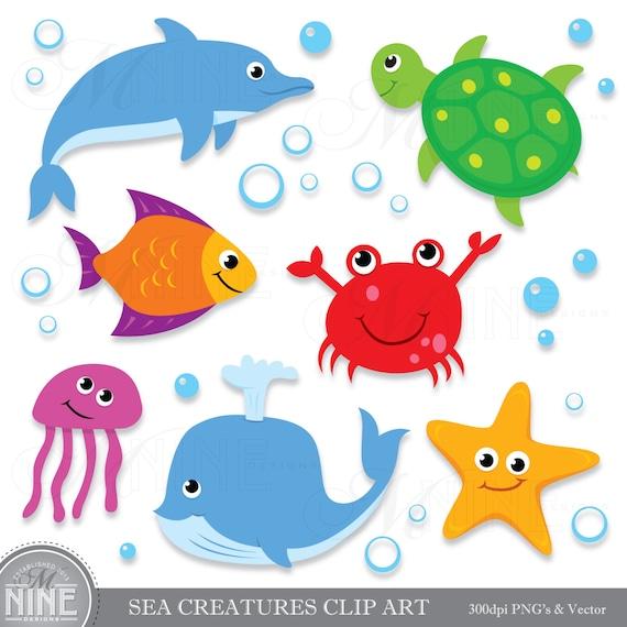 sea creatures clip art digital clipart instant download rh etsy com ocean life clipart free Ocean Reef Clip Art