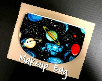 Saturn Solar System Space Science Makeup Bag Gift Travel Case