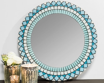 Blue and Silver Tiled Mirror – Round Wall Mirror in Turquoise, 5 Sizes Available
