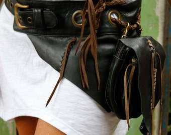 Leather belt bag / Fanny pack / Leather Utility Belt Bag / Festival hip bag / Boho bag / High quality hand made / Infinite styles