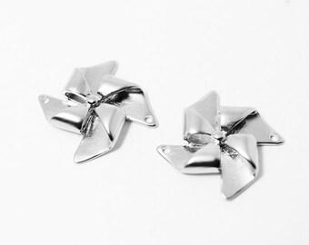 P0323/Anti-Tarnished Matte Rhodium Plating Over Brass/Origami Pinwheel Pendant /25x25mm/2pcs